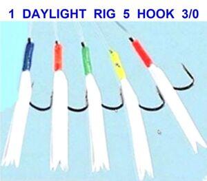 6 FLADEN DAYLIGHT RIGS 5 HOOK SIZE 3//0 BOAT SEA FISHING MACKEREL COD FEATHERS