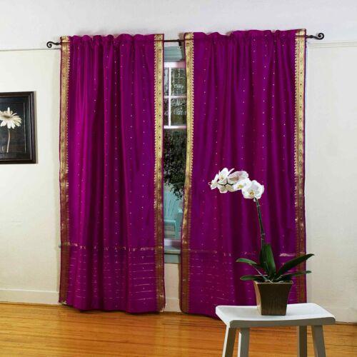 Paar Indien Violett Rot 84-inch Stab Taschen Durchsichtig Sari Vorhang Panel