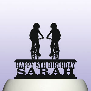 Image Is Loading Personalised Acrylic Childrens Cycling Birthday Cake Topper Amp