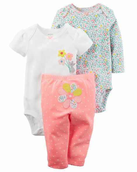 79f0b526b Carters 3-piece Flower Mouse Bodysuit & Pants Set Baby Girl Clothes 3  Months for sale online | eBay