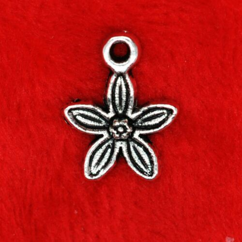 15x Tibetan Silver Star Shaped Flower Daisy Charm Pendant Finding Beading Making