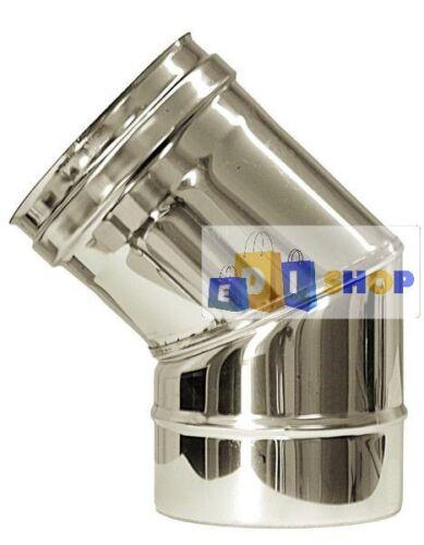 CANNA FUMARIA TUBO ACCIAIO INOX 316 PARETE SEMPLICE CURVA 45°