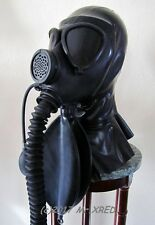 HEAVY RUBBER Fetish LATEX HOOD Rebreather GAS MASK+GAG w PUMP+DARK LENS+HOSE+BAG