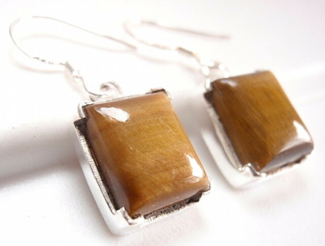 Four-Pronged Tiger Eye Rectangle Earrings 925 Sterling Silver Dangle New