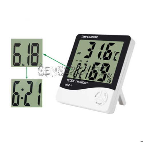 Digital HTC-1 LCD Thermometer Hygrometer Temperature Humidity Meter Alarm Clock