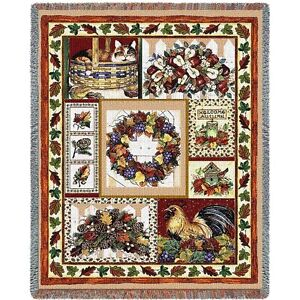 Fall Patchwork Woven Art Tapestry Throw 6083-T Made in USA