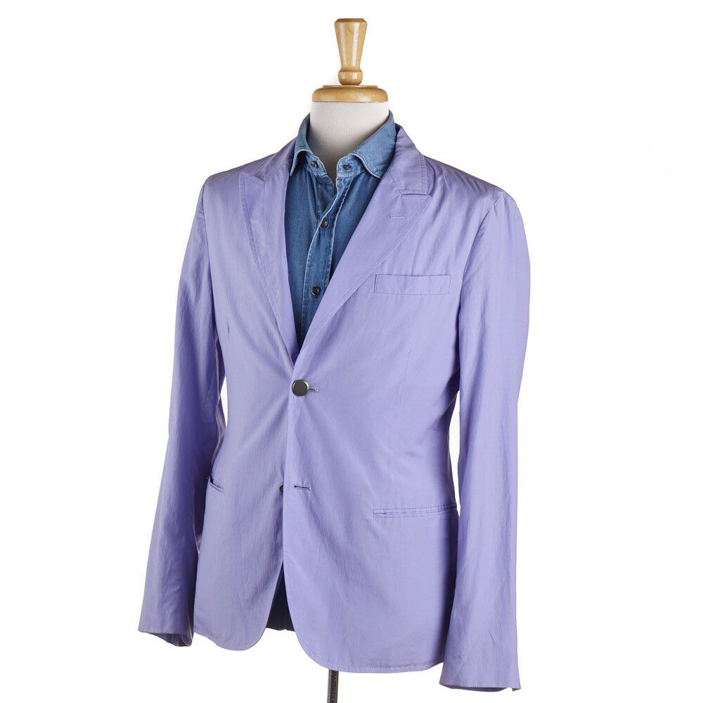 New 1850 GIORGIO ARMANI Lavender Blau Lightweight Cotton-Silk Sport Coat 38 R