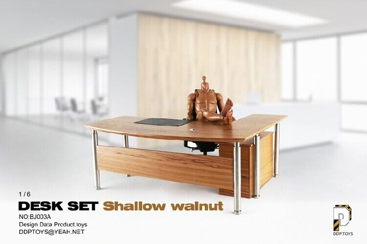 DDPTOYS BJ003A Dest & Chair Set Shalow Walnut 1 6 fit for 12  action figure