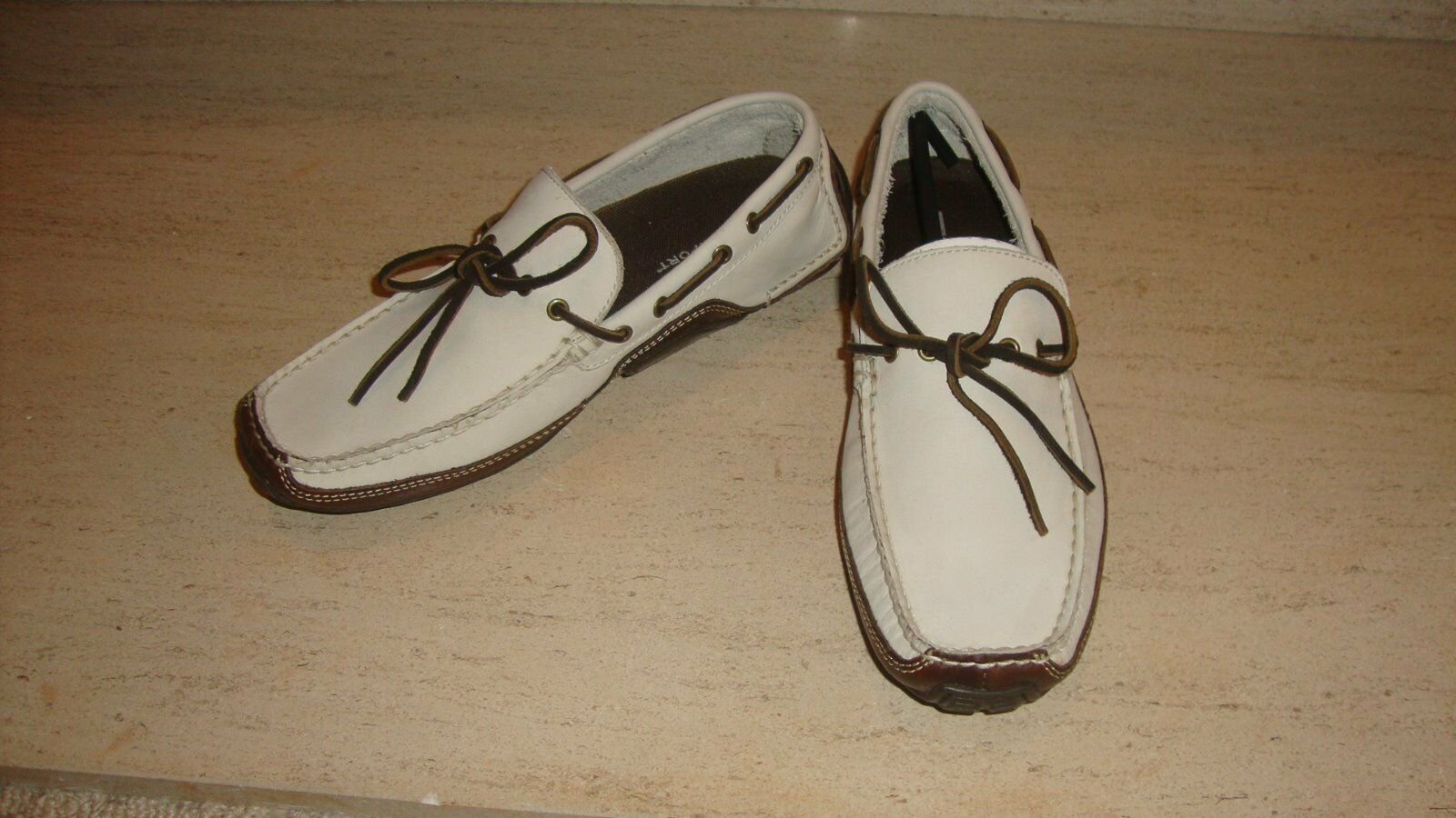 Scarpe casual da uomo  SPORTY NWB ROCKPORT CASUAL SLIP ONS SHOES IN OFF WHITE LEATHER