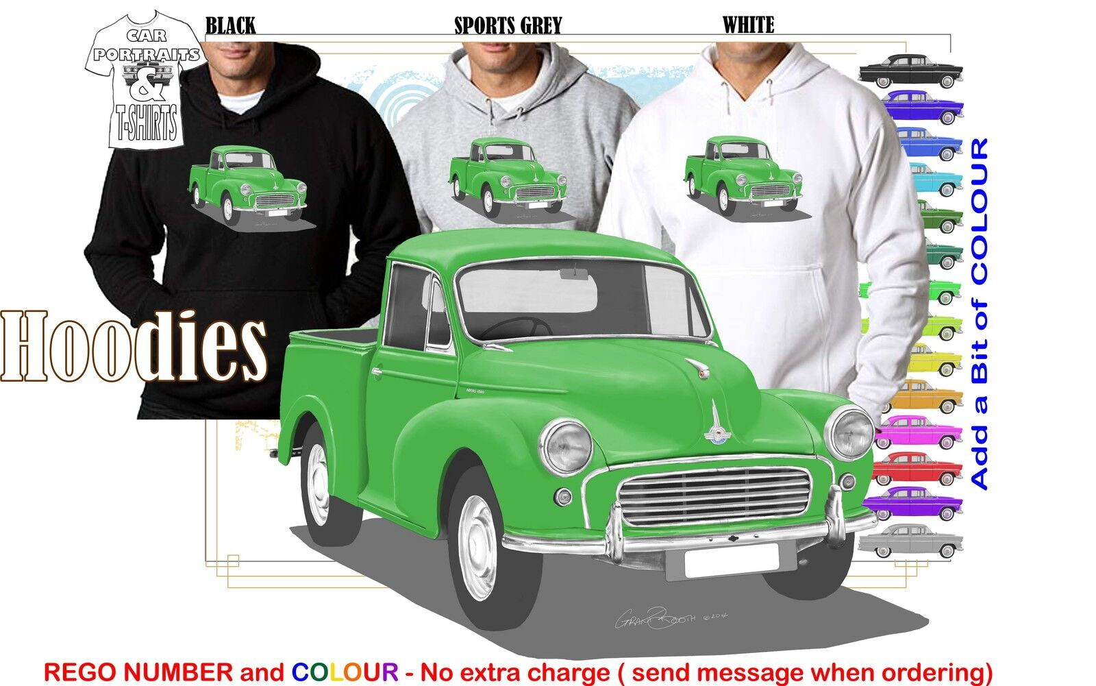 56-71 MORRIS MINOR 1000 UTE HOODIE ILLUSTRATED CLASSIC RETRO MUSCLE SPORTS CAR