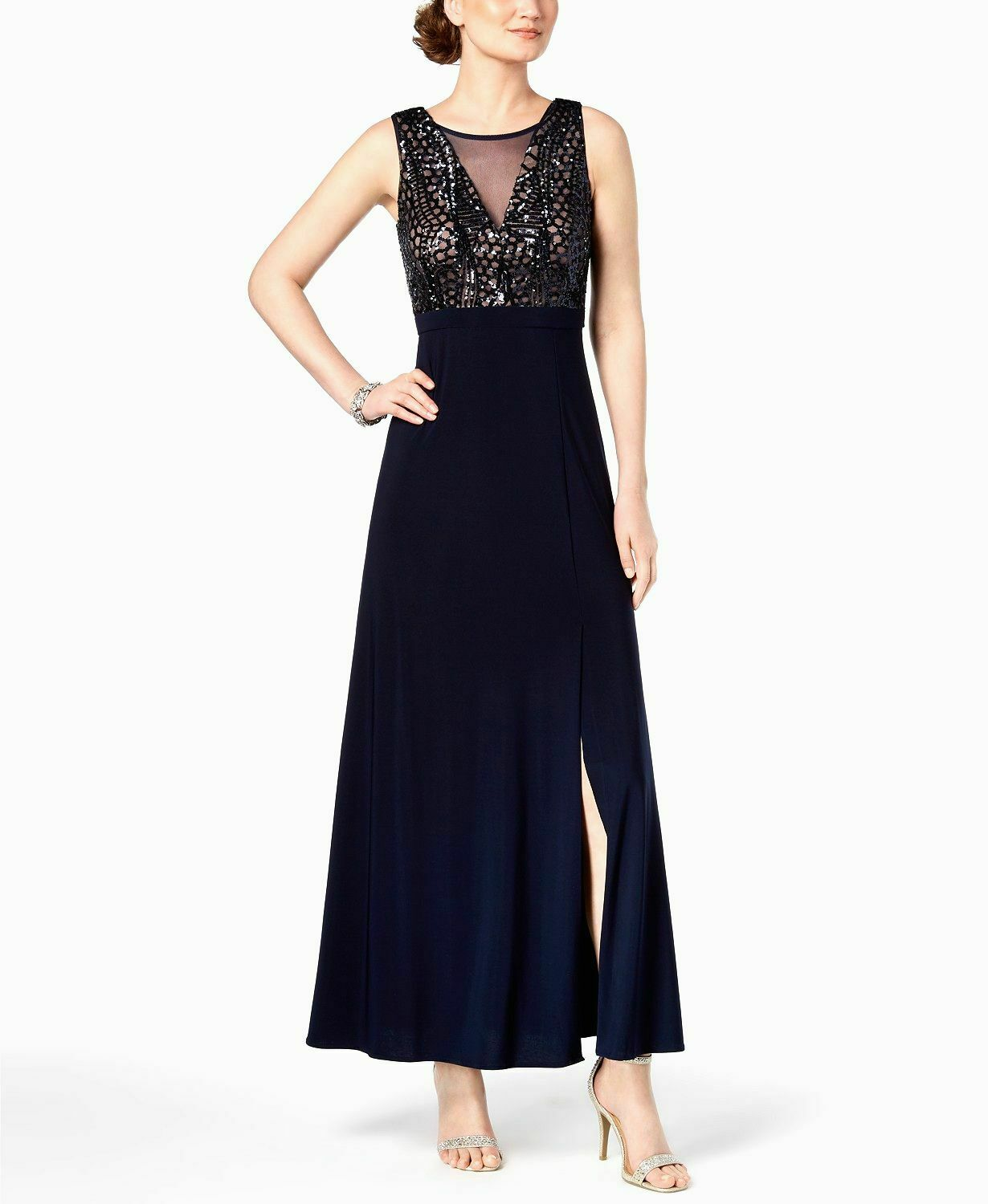 NIGHTWAY WOMEN'S blueE SEQUINED LONG MESH GOWN A-LINE DRESS SIZE 14