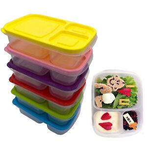 Set Of 5 Children's Kids Plastic Lunch Boxes Sandwich Food Storage Lids Box
