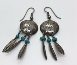 Vintage-Sterling-Silver-Earrings-925-Drop-Dangle-Concho-Faux-Turquoise-Southwest