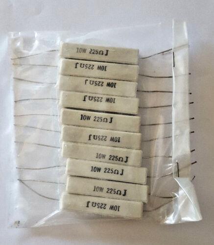 Wirewound Cermet Resistor Axial Lead 10 Watt 225ohm 10 pcs 225 Ohm 10W 5/%