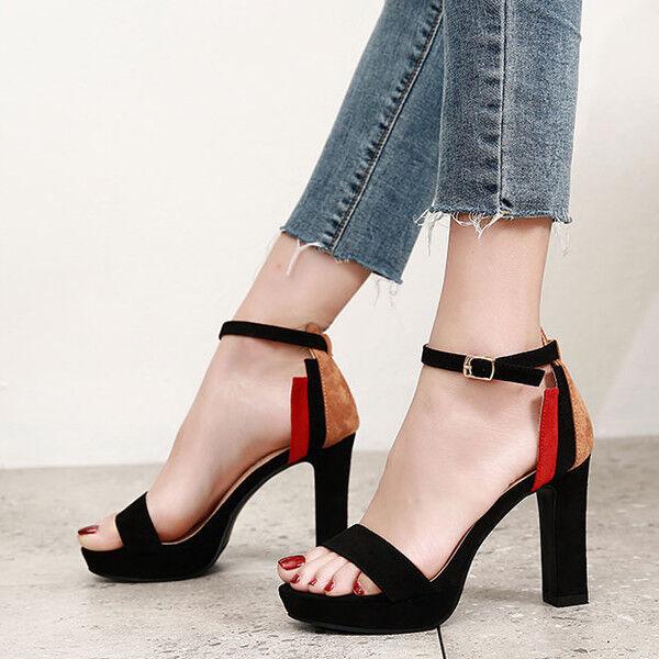 Sandalias cuadrado elegantes zuecos 10 cm negro zapatillas como piel CW408
