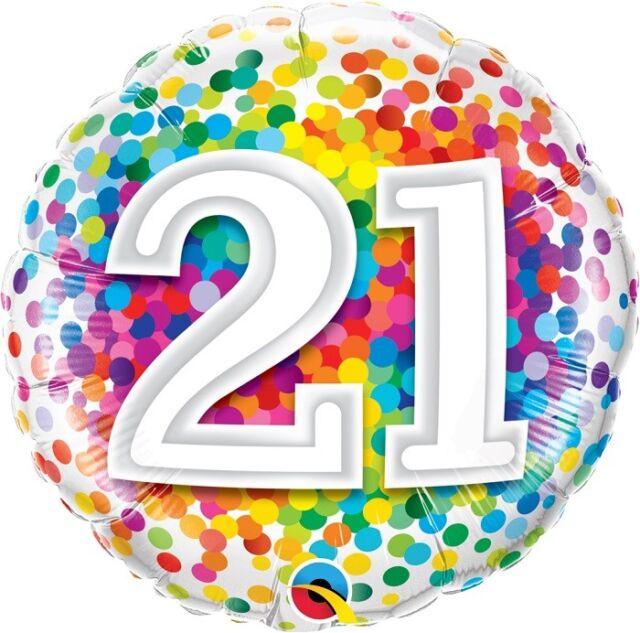 "21 | 21st Birthday | Rainbow Dots 18"" Party Foil Balloon | Decoration | Qualatex"