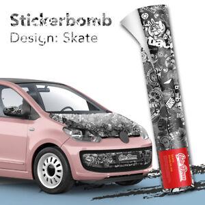 Stickerbomb-Auto-folie-Car-Wrapping-Logos-amp-Marken-Design-Skate-schwarz-weiss