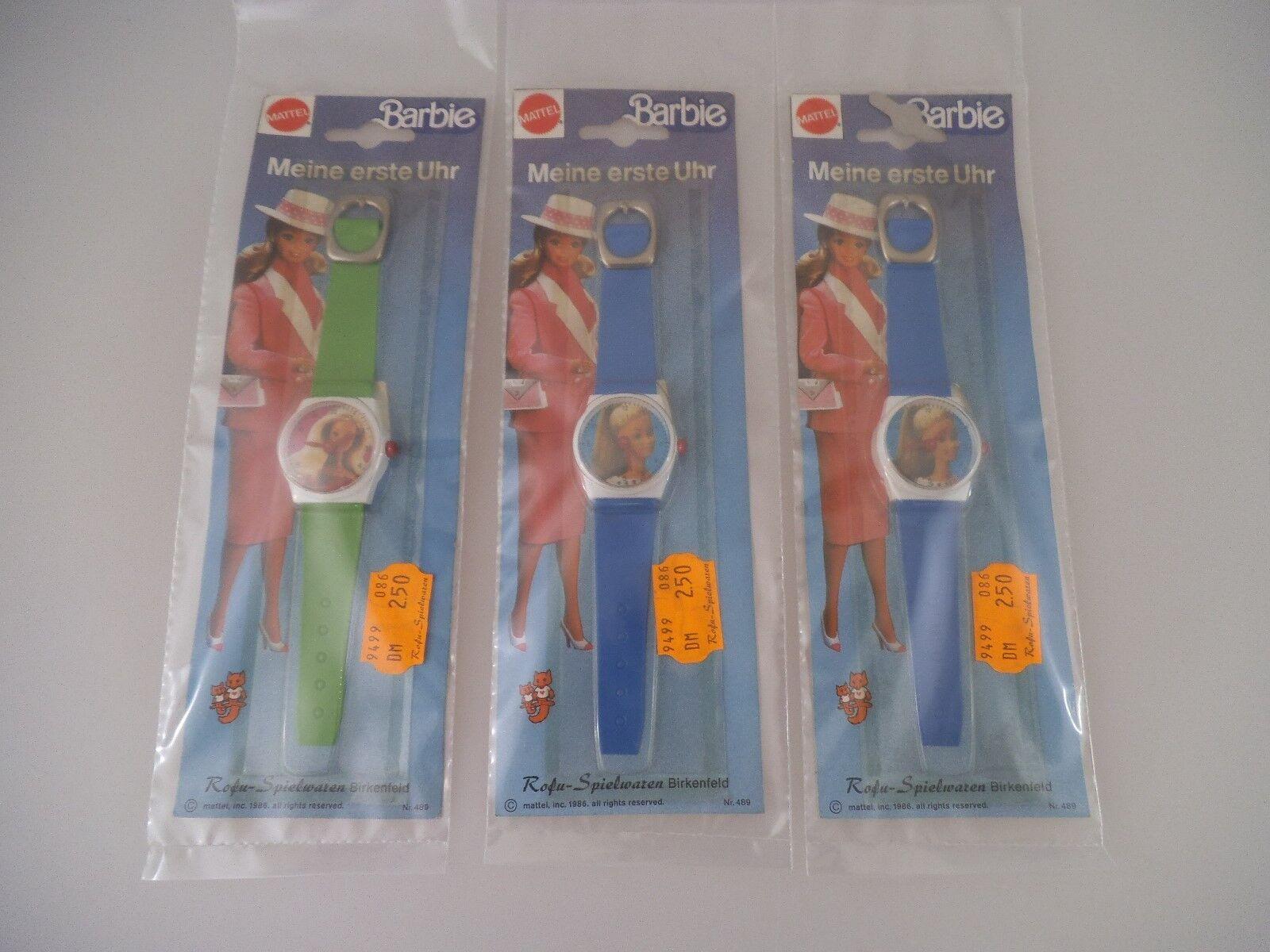 3 Barbie Armbanduhren von 1986 in OVP NRFB Mattel (2158)