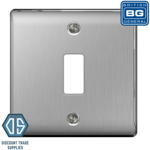 BG Nexus Metal Brushed Steel Satin Chrome 1 Gang Metal Front Cover Plate GNBS1