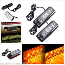 Waterproof 12V 4LED Amber Vehicle Beacon Emergency Strobe Flash Signal Light Bar