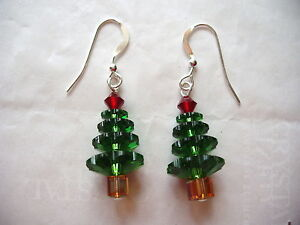 tree nl earrings christmas with rhodium crystals silver plated