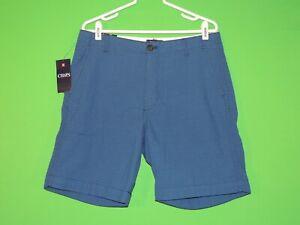 Chaps-Ralph-Lauren-Mens-Size-33-Seersucker-Flat-Front-Deep-Water-Blue-Shorts-NEW