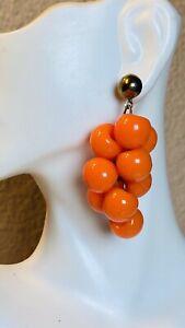 VTG-Statement-Dangle-Earrings-Ball-Drop-Cluster-Orange-Mod-Flashy-Lucite