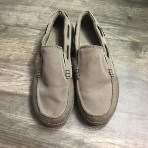 Crocs-Mens-Size-8-M-Loafers-Khaki-Boat-Shoes-Side-Vents-Canvas-Slip-On