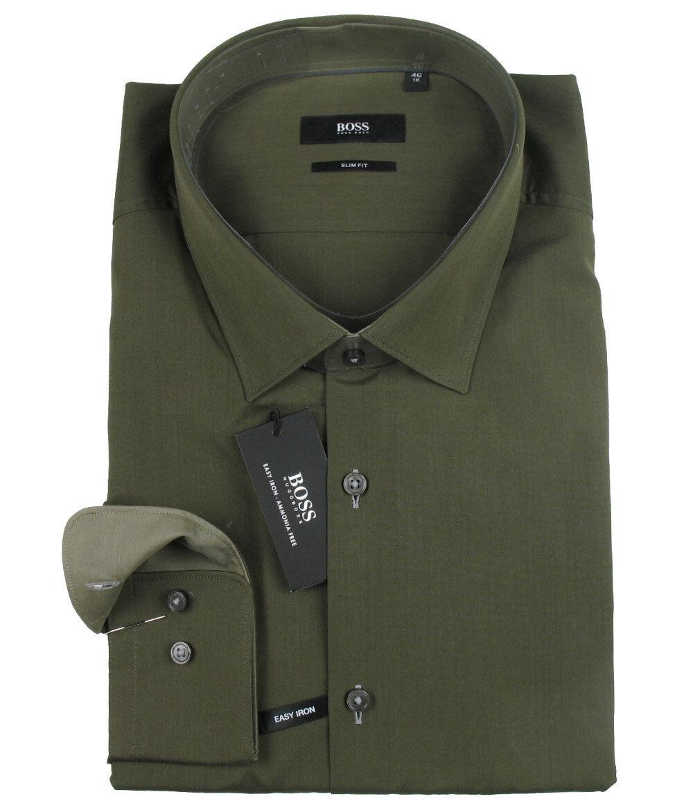 Boss nero Camicia Yuri in 46 (slim fit) verde oliva con polsino a contrasto