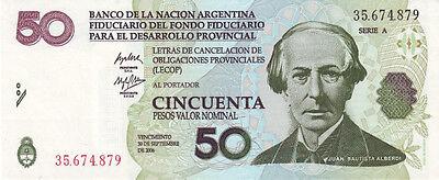 Emergency  LECOP Uncirculated  Banknotes ARGENTINA  5  PESOS  2001 2006