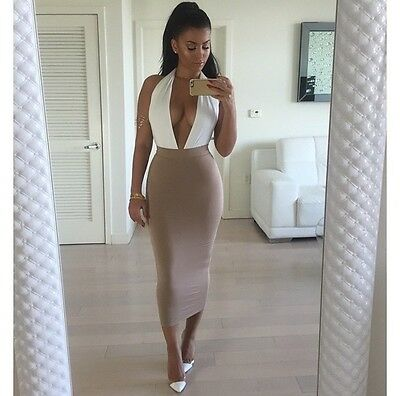 New Women Sexy Backless V Neck Bodycon Bandage Cocktail Party Midi Evening Dress