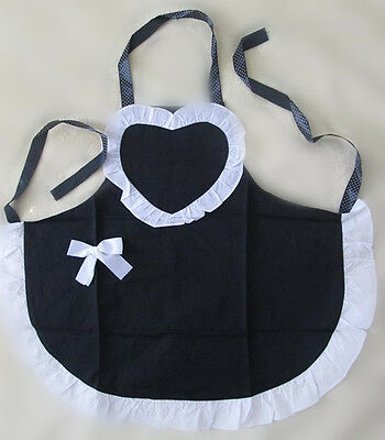 Lady Princess Style Black with Heart Shape Ruffle White Dot Baking cooking Apron
