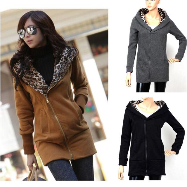 Mode Damen Casual Jacke Winter Mantel Lang Pullover Hoodie Oberbekleidung Bluse