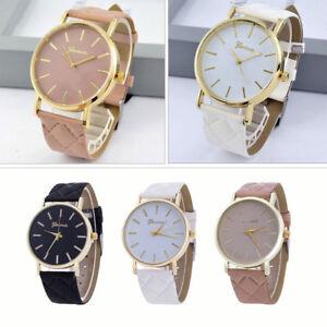 Luxus-Lederband-Grosse-Zifferblatt-Damen-Genf-Quarz-Armbanduhr-Edelstahl-Leder-DE
