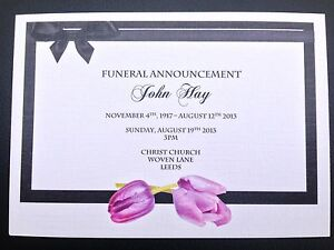 Image Is Loading 25 X Personalised Funeral Announcement Invitation Cards A6  Ideas Invitation For Funeral