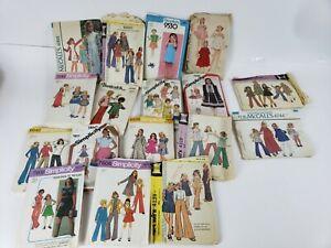 Lot of 17 Vintage 40's thru 80's Little Girl McCall's Simplicity Butterick