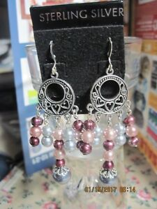 Image Is Loading Pretty Ss Open Work Heart Hoop Cranberry Pearl