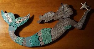 Distressed-Wood-amp-Metal-Mermaid-Wall-Art-Sculpture-Beach-Home-Decor-Sign-NEW