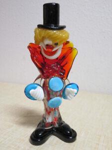 Vintage-Murano-Glass-Italy-Clown-Figurine-Google-White-Eye