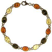 8 Inch/20cm Baltic Amber Sterling Silver 925 Ladies Bracelet Jewellery Jewelry