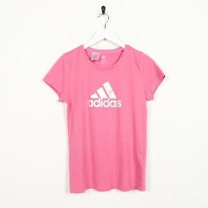 Vintage-Femme-ADIDAS-Big-Logo-T-Shirt-Tee-rose-Petit-S