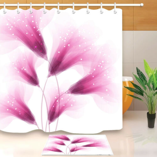 72x72/'/' Bathroom Waterproof Fabric Shower Curtain 12 Hooks Pink Delicate Flowers