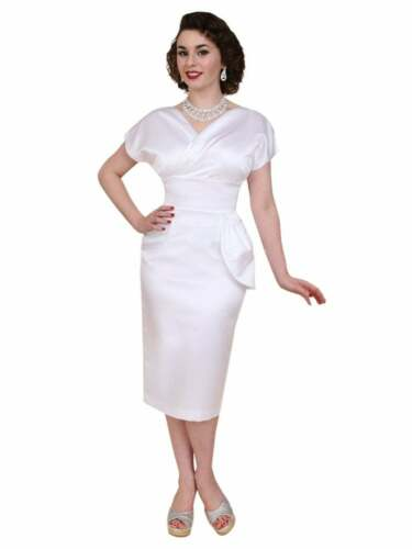 1940s Dresses | 40s Dress, Swing Dress    Vivien of Holloway Vintage Style Jezebel White Duchess Dress 1950s 1940s wedding £110.00 AT vintagedancer.com