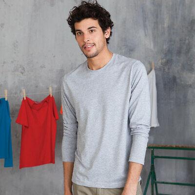 Amichevole Kariban Kb359 Da Uomo Maniche Lunghe T-shirt Girocollo Extra Soft Comfort Indossate Tshirt-