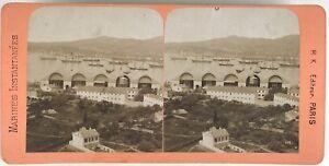 Toulon-La-Rade-Marina-Francia-Foto-B-K-Parigi-Stereo-Vintage-Albumina