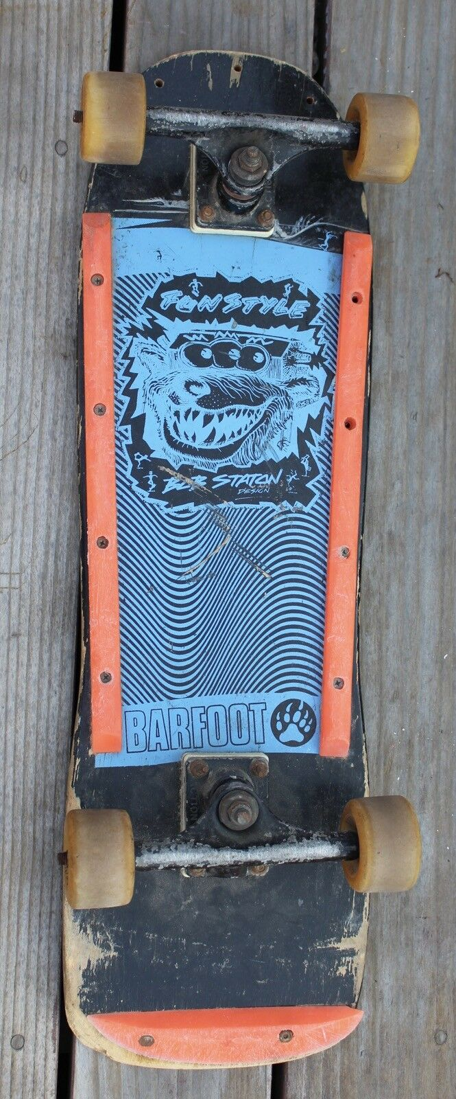Rare Vintage Barfoot Bob Staton Design Fun Free Style S  board Complete Board  cheap and high quality