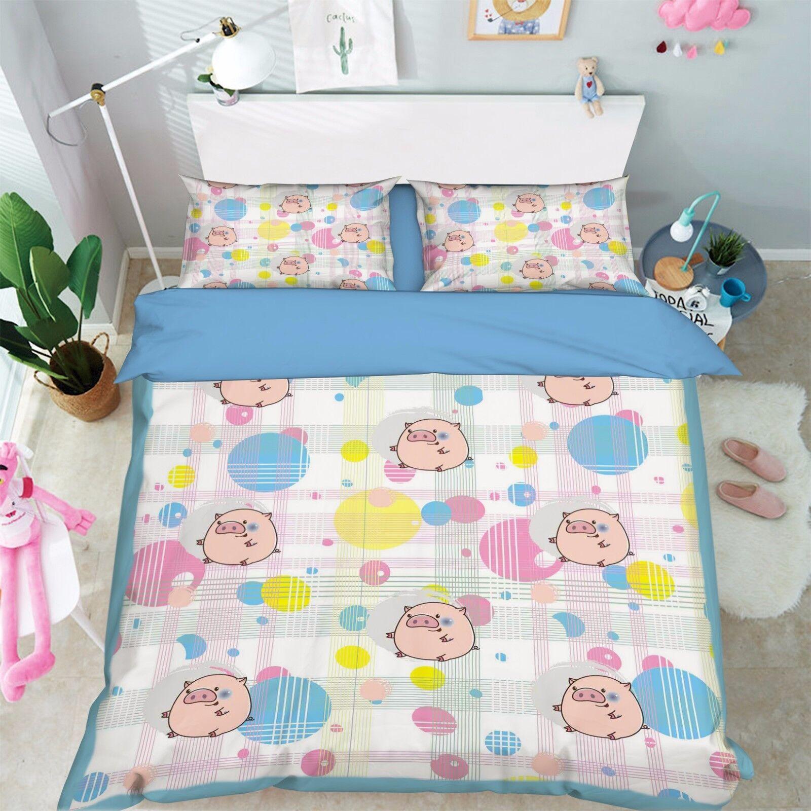 3D Cartoon Schwein 916 Bett Kissenbezüge steppen Duvet Decken Set Single DE Kyra