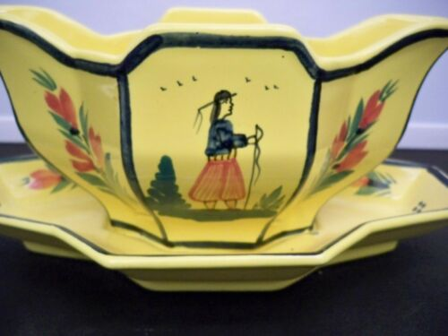 QUIMPER SOLEIL YELLOW GRAVY BOAT WITH ATTACHED UNDERPLATE MAN