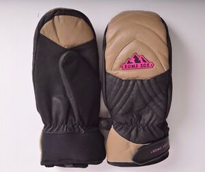 2016-NWT-ADULT-ROME-EVERLAST-SNOWBOARD-MITTENS-M-tan-black-pink-waterproof
