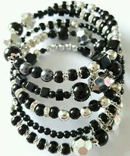 New Handmade Black and Silver Coloured Beaded Memory Wire Bracelet Wrap Bangle.